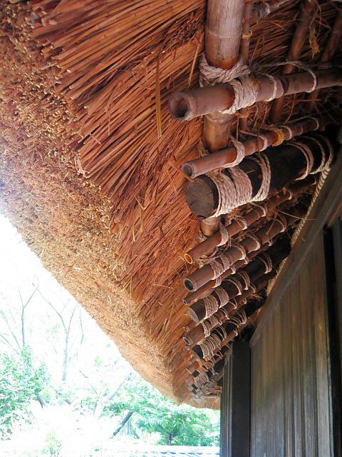 軒下から屋根の端を見上げた一枚。竹の骨組みと茅の切りそろえられた部分の美しさ。日本人って何か大事なものを切り捨ててしまったみたい。