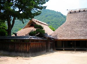 茅葺の大きな屋根の古い民家。屋根の形が古い時代を物語っています。母屋と離れ、そして垣根。