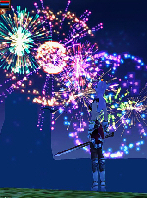 夜空に大きな大輪の花火がいくつも。なかなか綺麗な花火です。上手に作ってあるな~と感心。