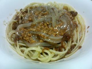 イカ納豆のしょうが醤油スパゲティ_c0025217_2104011.jpg
