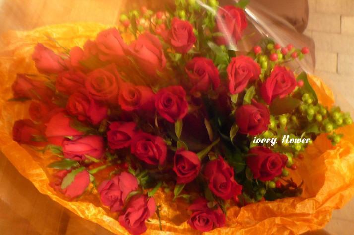 赤のバラ花束_b0094378_1843220.jpg