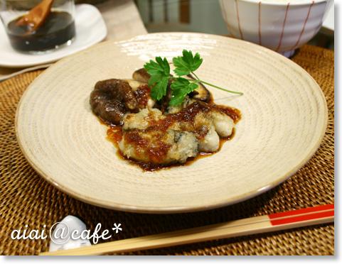 牡蠣と椎茸ステーキ・オニオンソース_a0056451_14342990.jpg