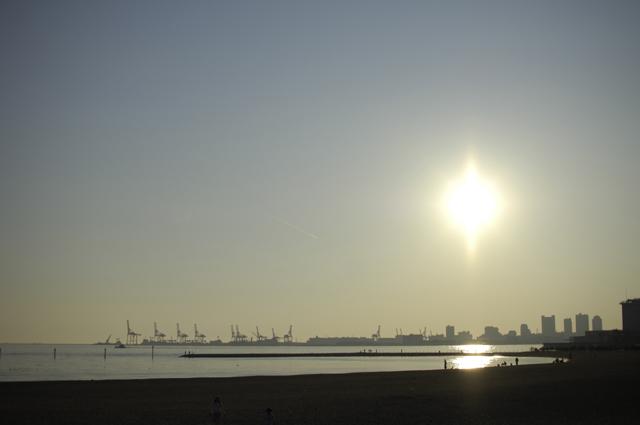人工の砂浜で、釣り人や学生さん・ご家族で遊んだりとが十分出来るほどの広さがあります。あさりも取れちゃうみたいです。今の技術は凄いです。夕日をバックに海岸沿いを撮ってます。