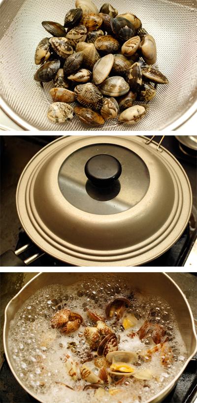漢(おとこ)の料理・4 アサリの酒蒸し_a0003650_23203092.jpg