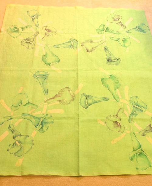 カラーの花 手描き 型染め テーブルクロス_e0104046_15420100.jpg