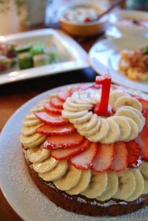 お子様も召し上がれる バナナケーキ フルーツ添え_a0103712_19122918.jpg