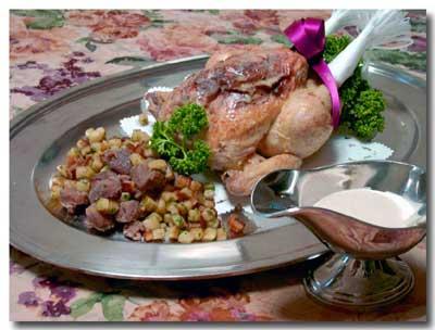 ハーブを詰めたノエル風鶏のロティーとポテトとマロンのソティー_d0109415_165642100.jpg