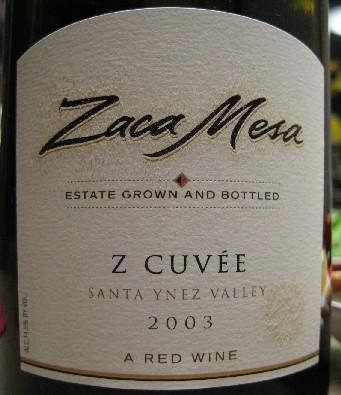 今年最初のワインは、Santa BarbaraのRohneブレンドを@ZACA MESAWinery & Vineyards 2003 Z Cuvee_c0013687_20542677.jpg