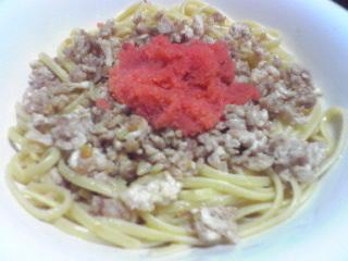 鶏挽き肉の明太子スパゲティ_c0025217_98213.jpg