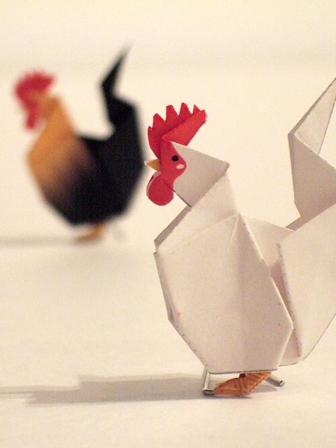 すべての折り紙 雛人形 折り紙 : 手前のはチャボ、奥のもチャボ ...