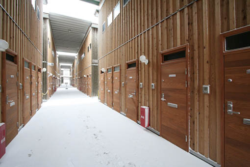 地吹雪の中の国際教養大学宿舎_e0054299_914036.jpg