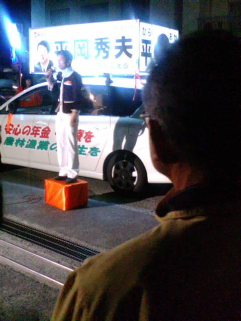 蓮紡さん熱弁で平岡さん応援_e0094315_2152173.jpg