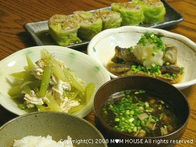 和風ロールキャベツ☆秋刀魚の揚げ浸し♪_c0139375_1751447.jpg