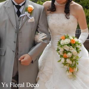 白とオレンジ ブーケ&髪飾り_b0113510_23572593.jpg