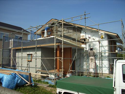 Nさんのいえ 外壁左官工事中 2008/6/18_a0039934_17531571.jpg