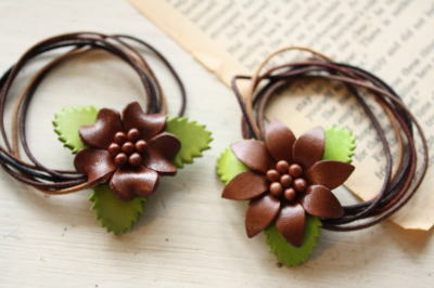 leather flower hair band & pin _c0118809_15262329.jpg
