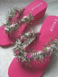 *クロシェットの花が咲くビーチサンダル*_c0083904_18112420.jpg