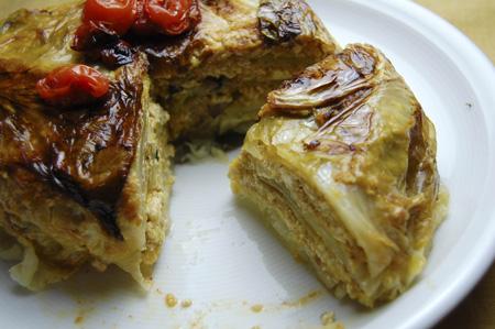 丸ごとキャベツと豆腐のキャセロール、ワンタンスープ_a0080964_1631135.jpg