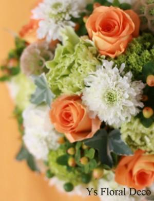 鮮やかオレンジと緑と白のラウンドブーケ_b0113510_1015184.jpg