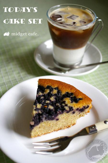 アイスカフェラッテ&ブルーベリープレートケーキ【本日のケーキセット】