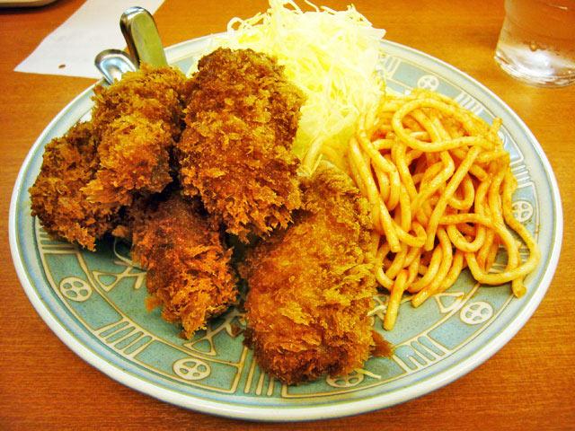 とんかつ駿河 カキフライ定食_a0016730_23235332.jpg
