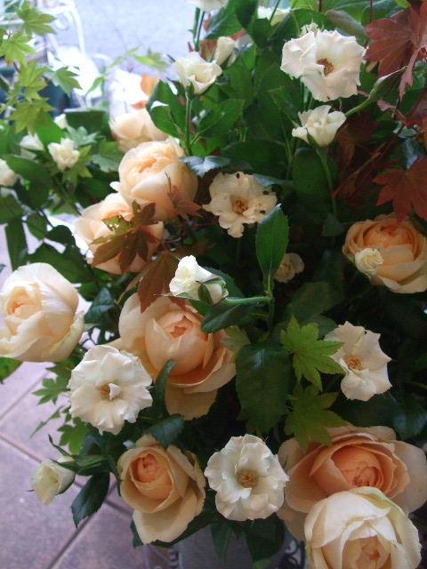 オークリーフ(紅葉と秋バラの花束)_f0049672_16384571.jpg
