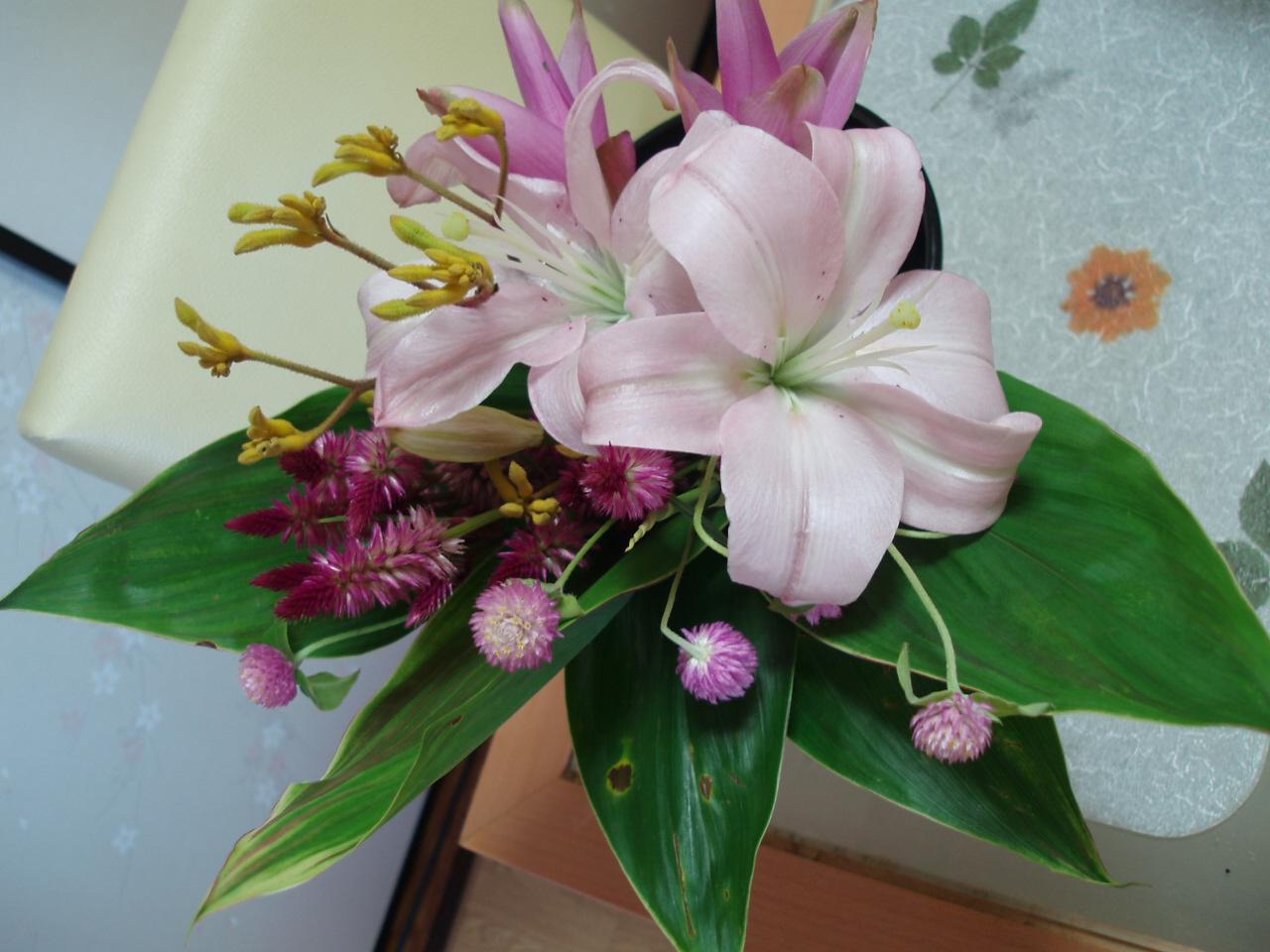 秋色のピンクのブーケ♪を作りました♪_b0137453_16203136.jpg