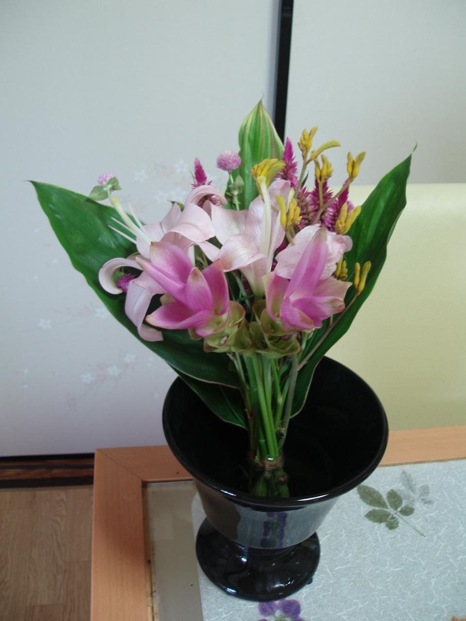 秋色のピンクのブーケ♪を作りました♪_b0137453_1632253.jpg