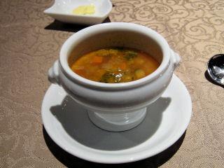 スープ(蕎麦掻の入ったミネストローネ)