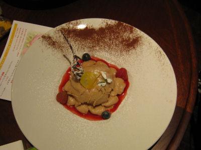 デザート(マロンのモンブラン仕立てにバニラアイスを添えて)