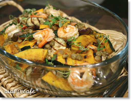 エビとグリル野菜のマリネサラダ_a0056451_13385831.jpg