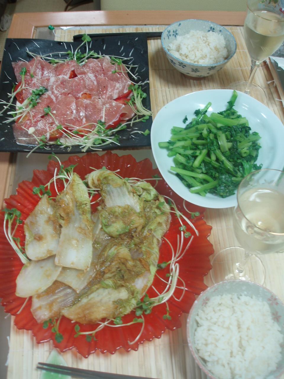 「こんがり白菜生姜焼き」と「セロリの塩きんぴら」と「生ハムトマト」♪_b0137453_9132943.jpg