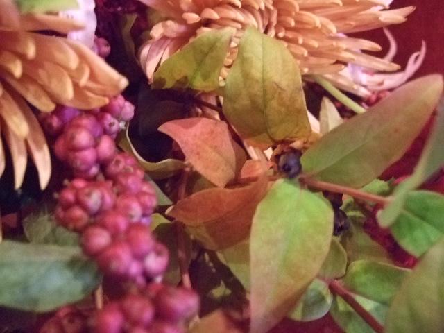 オークリーフ(紅葉ヒぺりカムとシンフォリカルホスを添えた花束)_f0049672_1425740.jpg