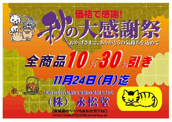 【バーゲン情報】 秋の大感謝祭 (by 永松堂)_b0151490_15361425.jpg