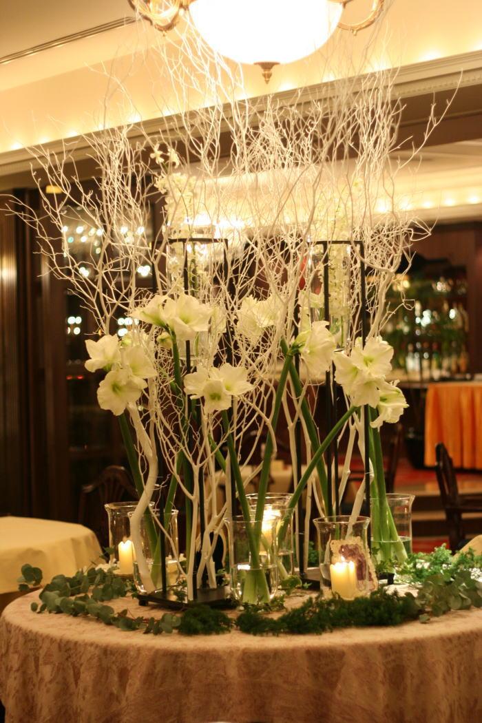 シェ松尾青山サロン様の装花 冬へのメモリアルテーブル_a0042928_23133415.jpg