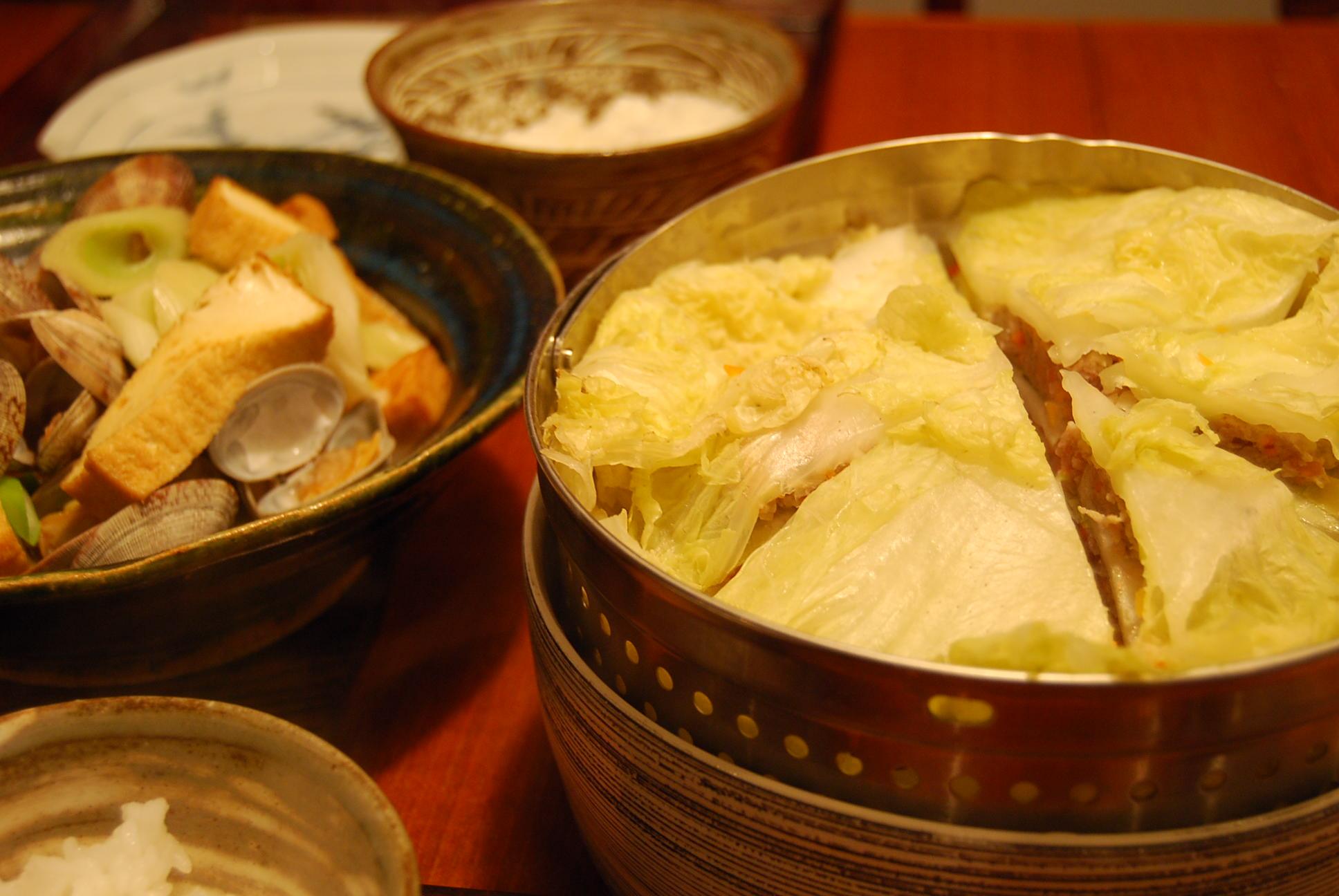 豚ひき肉と白菜の蒸し物_e0142956_925919.jpg