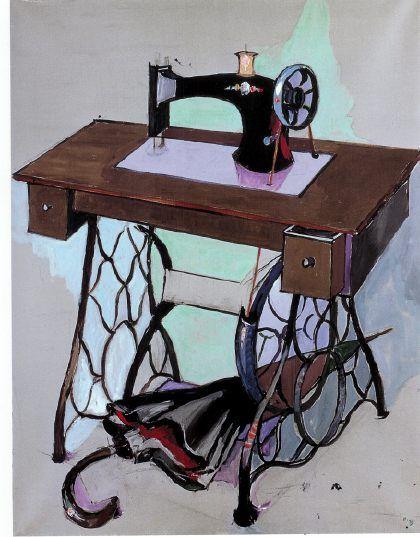 Rencontre fortuite sur une table de dissection d'une machine a coudre et d'un parapluie