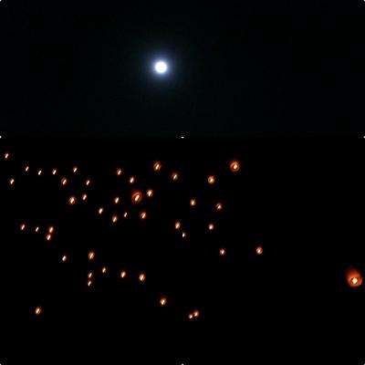 夜のスコータイ遺跡 ローイクラトンとコムローイ_a0084343_1625788.jpg