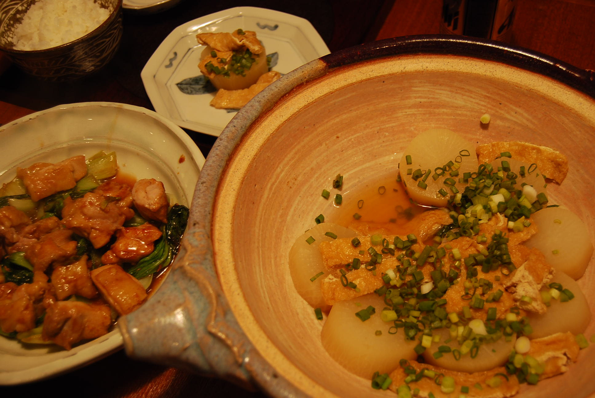 大根土鍋煮 鶏とチンゲンサイのオイスター炒め_e0142956_11332232.jpg
