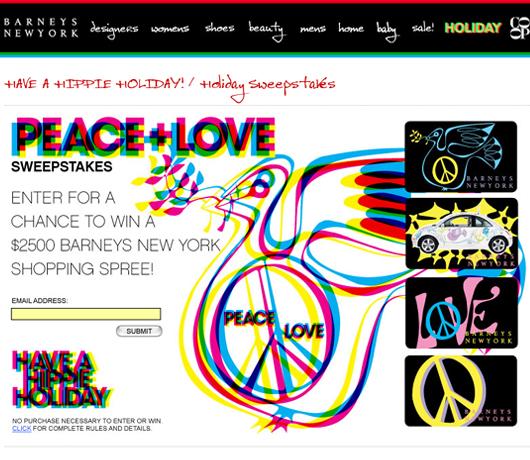 バーニーズ・ニューヨークのホリデー・ウィンドウは「平和と愛」をお届け中_b0007805_1020360.jpg