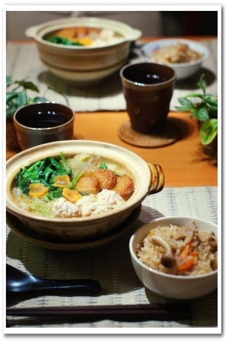土鍋で鶏団子と白菜と春雨のスープ・蓮根の炊込みご飯_f0179404_21502424.jpg