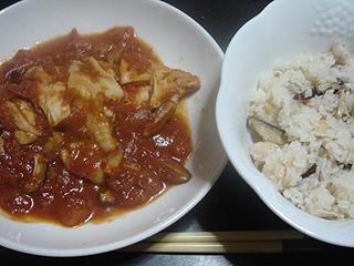 蒸し鶏のトマト煮こみと鶏ごはん_c0025217_11461823.jpg