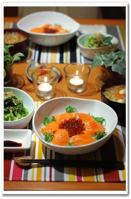 鮭いくら親子丼 と キャベツと納豆のナムル_f0179404_21495215.jpg