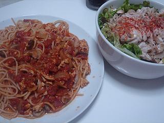 トマトチキンスパゲティとチキンサラダ_c0025217_2014363.jpg