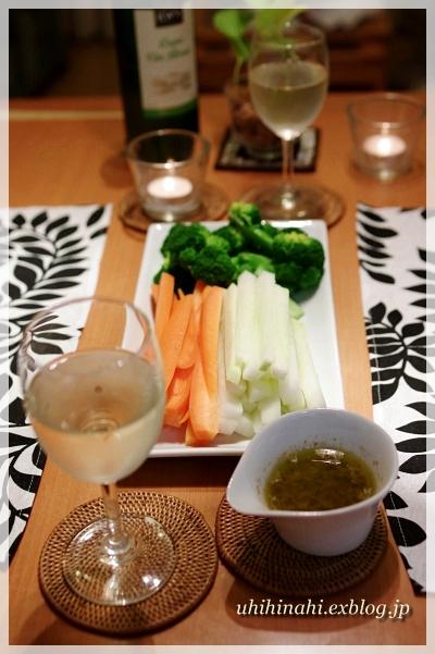 牡蠣とルッコラのクリームスパゲティ と バーニャカウダ_f0179404_2272191.jpg
