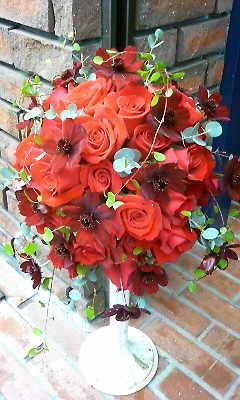 真っ赤なバラのブーケ_c0137266_2128404.jpg