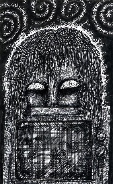 テレビの上の顔半分の女・画_a0093332_2215413.jpg