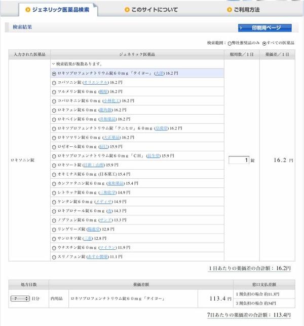 後発品の値段をリストアップしてくれるサイト。_b0028732_0124334.jpg