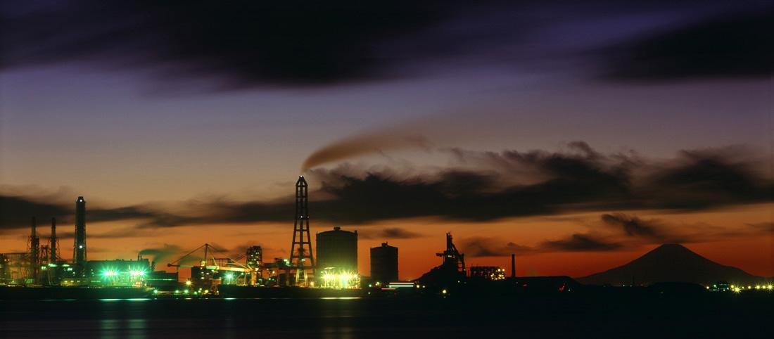 千葉・木更津港から見る君津の製鉄所 1998.1.25  _c0190190_6351685.jpg