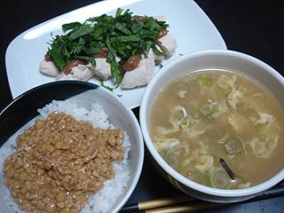 鶏ささみの梅しそ和えと中華スープ_c0025217_108596.jpg